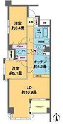 京急本線 泉岳寺駅 徒歩1分の賃貸マンション 3階2LDKの間取り