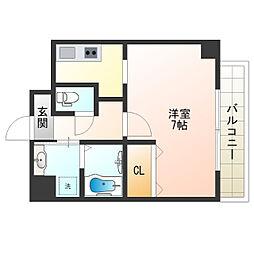 阪堺電気軌道上町線 阿倍野駅 徒歩2分の賃貸マンション 2階ワンルームの間取り
