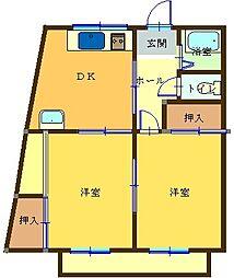 ハニーハイツI[203号室]の間取り
