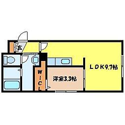 札幌市電2系統 中島公園通駅 徒歩6分の賃貸マンション 3階1LDKの間取り