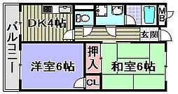 メゾン松ノ浜[106号室]の間取り