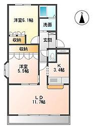 ガーデンハイム16[1階]の間取り
