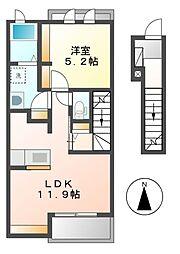 愛知県名古屋市南区源兵衛町5丁目の賃貸アパートの間取り