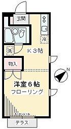 東京都世田谷区上祖師谷1丁目の賃貸アパートの間取り