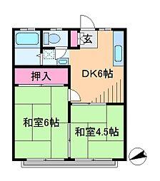神奈川県横浜市港北区箕輪町3丁目の賃貸アパートの間取り