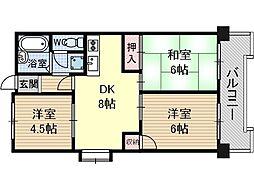 鮎川ハイツ[4階]の間取り