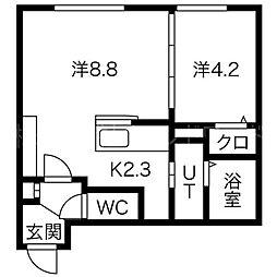 プルミエール二十四軒ウエスト[2階]の間取り