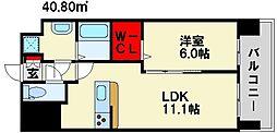 グランデスカイ空港南 9階1LDKの間取り