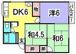 新田ハイツA棟[1階]の間取り