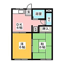 タウニー宝山[1階]の間取り