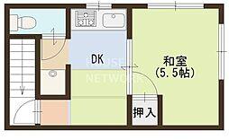 京都府京都市東山区山崎町の賃貸アパートの間取り