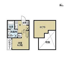 福岡県福岡市博多区那珂1丁目の賃貸アパートの間取り