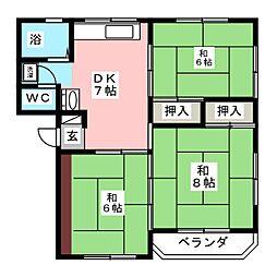 コーポ福田町[4階]の間取り