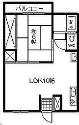 中村コーポ[102号室]の間取り