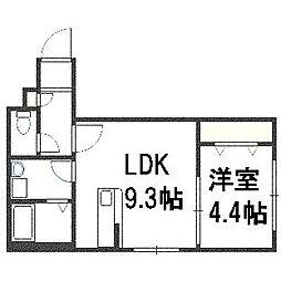 北海道札幌市豊平区美園八条2丁目の賃貸マンションの間取り