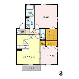 ボンヌシャンスC[1階]の間取り