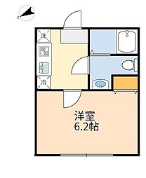 JR南武線 登戸駅 徒歩5分の賃貸アパート 1階ワンルームの間取り