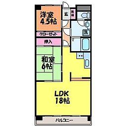 愛媛県松山市針田町の賃貸マンションの間取り