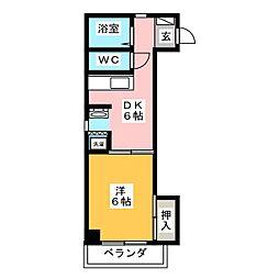 ラフォーレ岐阜 6階1DKの間取り