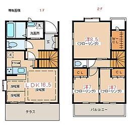 [テラスハウス] 東京都世田谷区成城8丁目 の賃貸【/】の間取り