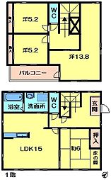 [一戸建] 奈良県奈良市西千代ヶ丘1丁目 の賃貸【/】の間取り