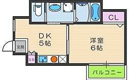 ラルーチェ逢坂[201号室]の間取り