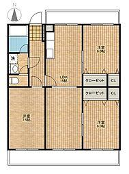 埼玉県さいたま市西区大字宝来の賃貸マンションの間取り