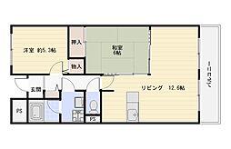 大阪府大阪市平野区喜連5丁目の賃貸マンションの間取り
