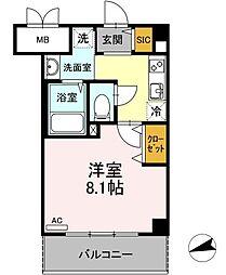 Cerisier Mitsu 3階1Kの間取り
