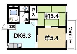 平松ハイツA[1階]の間取り