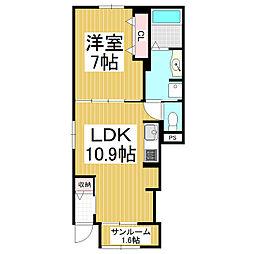 松本電気鉄道上高地線 波田駅 徒歩9分の賃貸アパート 1階1LDKの間取り
