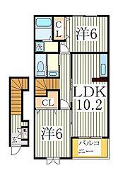 ソレイユ1[2階]の間取り