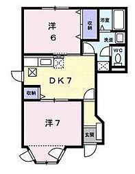 愛媛県松山市東石井2丁目の賃貸アパートの間取り