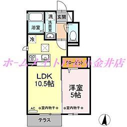 東京都西東京市向台町2丁目の賃貸アパートの間取り