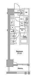 東急東横線 都立大学駅 徒歩11分の賃貸マンション 6階1Kの間取り