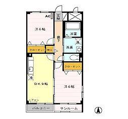 富山県富山市布瀬町南1丁目の賃貸アパートの間取り
