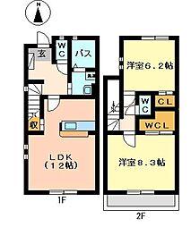 [テラスハウス] 愛知県春日井市白山町2丁目 の賃貸【/】の間取り