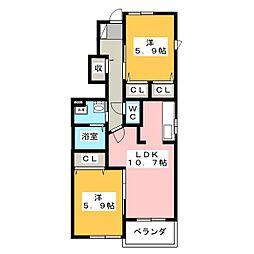 静岡県焼津市五ケ堀之内の賃貸アパートの間取り