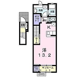 JR東海道本線 浜松駅 徒歩18分の賃貸アパート 2階1Kの間取り
