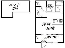 バス 遠鉄バス紺屋町下車 徒歩4分の賃貸アパート 2階ワンルームの間取り