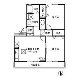 ヒルサイドコート六番館[1階]の間取り