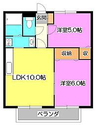 東京都東久留米市南沢2丁目の賃貸アパートの間取り