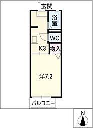 メゾンドールB棟 1階1Kの間取り