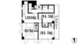 兵庫県川西市東畦野2丁目の賃貸マンションの間取り