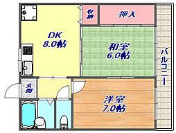 難波ビル[3階]の間取り