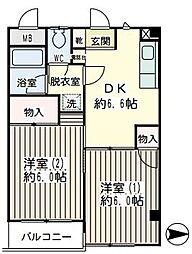神奈川県横浜市鶴見区仲通1丁目の賃貸マンションの間取り
