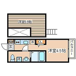 兵庫県神戸市長田区長尾町1丁目の賃貸アパートの間取り
