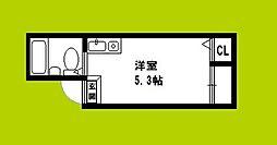 JPアパートメント大阪谷町 2階ワンルームの間取り