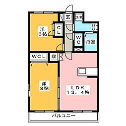 ピュア・ザ北ノ橋[2階]の間取り