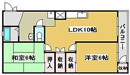 兵庫県加古川市別府町中島町の賃貸マンションの間取り